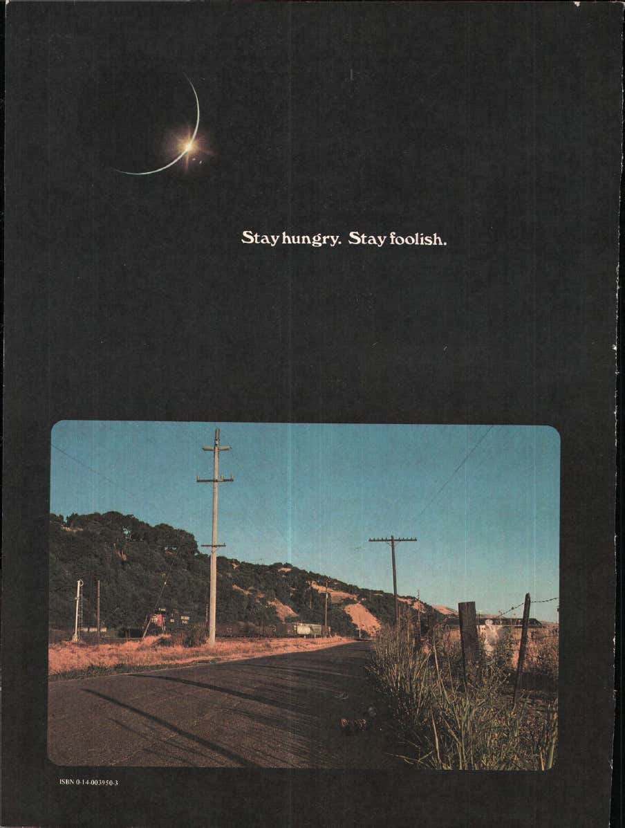 "The Whole Earth Epilog's Back Cover(Oct. 1974): ""Stay hungry. Stay foolish."""